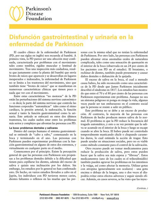 Disfunción gastrointestinal y urinaria