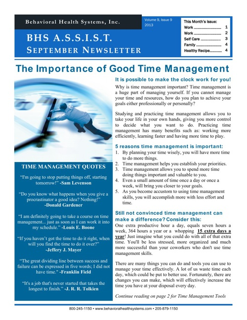 BHS ASSIST Newsletter September 2013
