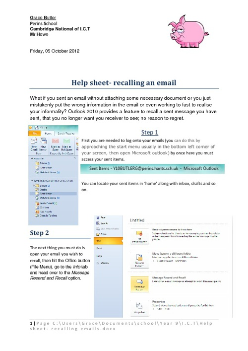 Helpsheet on recalling an email