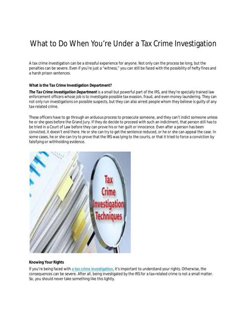 Tax Crime Investigation Secrets The Courts Don't Want You To Kno