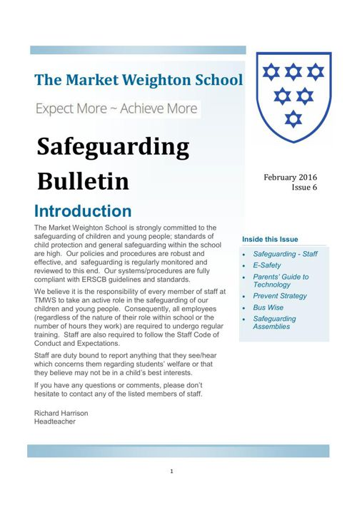 Safeguarding Bulletin Issue 6 Feb 2016
