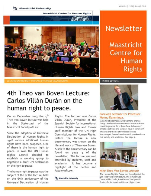 Newsletter Maastricht Centre for Human Rights Volume 3 (2013/14)
