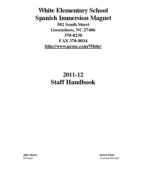 Jones' Staff Handbook