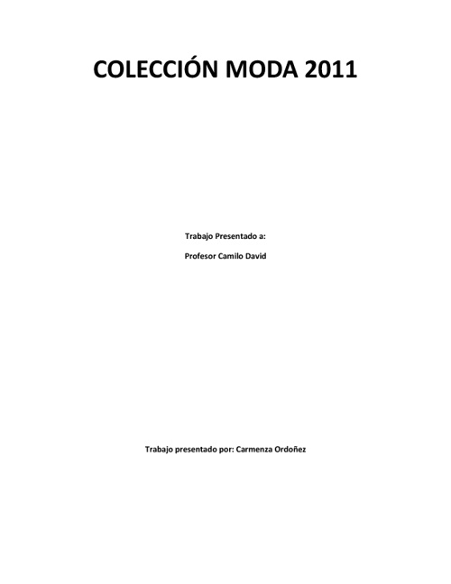 Colección Moda 2011