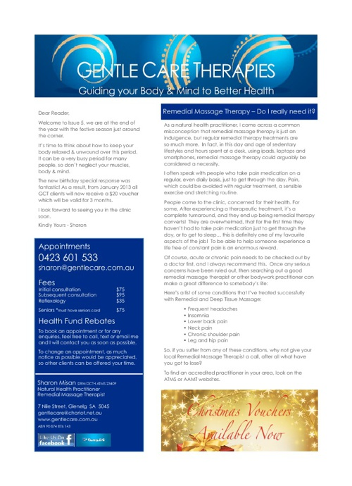 Gentle Care Therapies Newsletter Issue 5