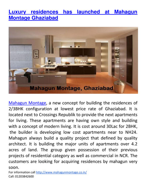 Luxury residences has launched at Mahagun Montage Ghaziabad