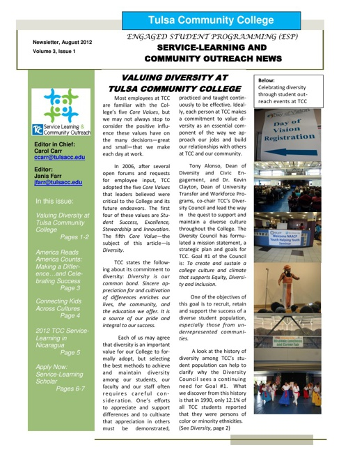 ESP Newsletter August 2012