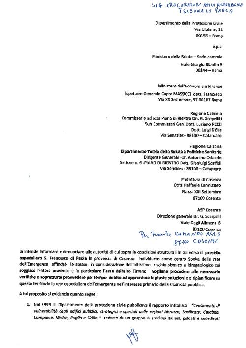 Denuncia NAS Ospedale di Paola