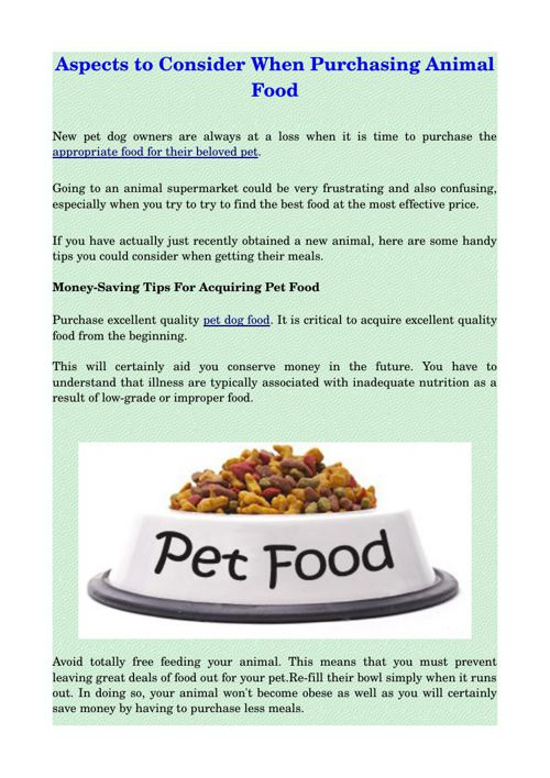 Aspects to Consider When Purchasing Animal Food