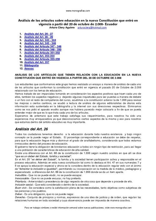 Analisis de Articulos en Educacion Nueva Constitucion