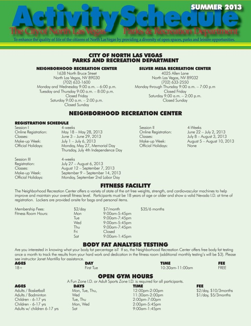 CNLV Parks & Recreation Summer Schedule 2013