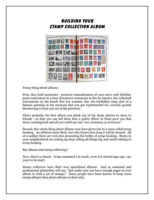 Building Your Stamp Collection Album