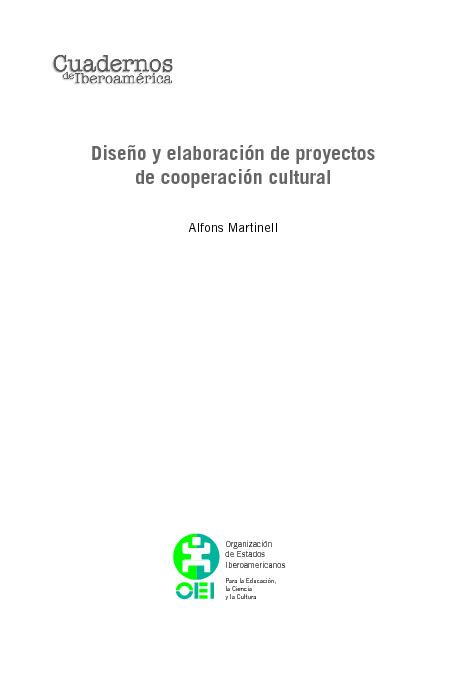 Diseño y elaboración de proyectos de cooperación cultural