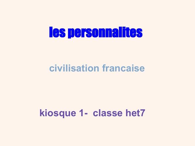 Les personnalites francaises classe het 7