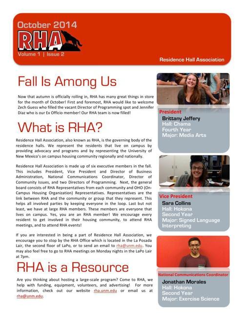 UNM RHA October 2014 Newsletter
