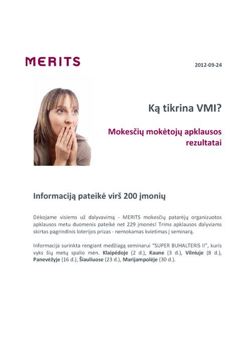 VMI tikrinamos temos - apklausa