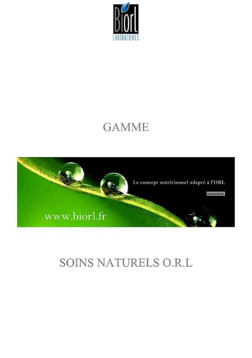 GAMME ORL SOINS NATURELS