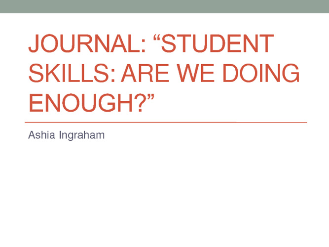 "Flipbook Journal 1: ""Student Skills: Are We Doing Enough?"""