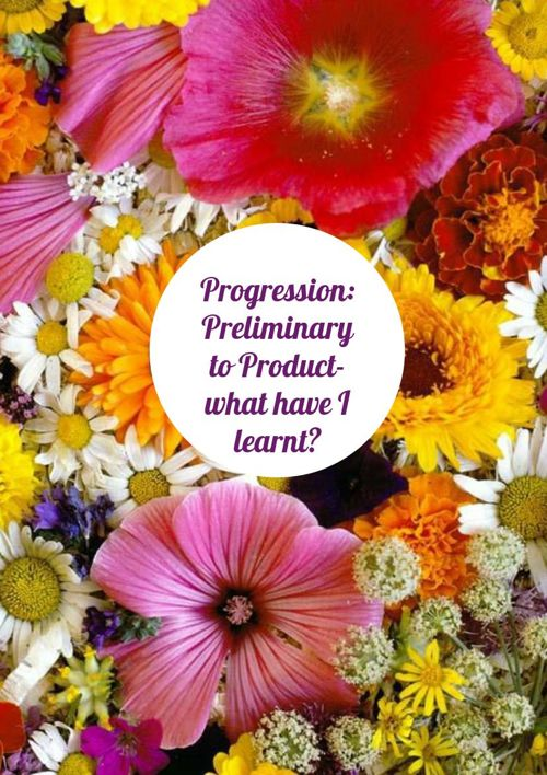 Progression: preliminary to final product: What I have learnt