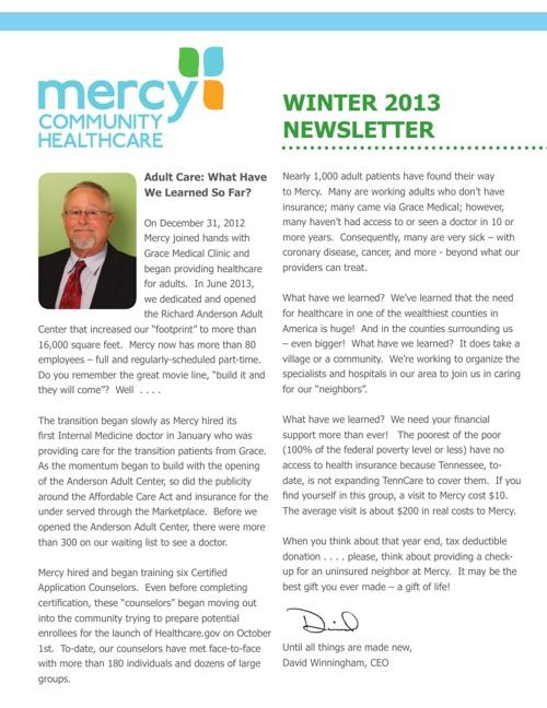 Mercy Community Healthcare Winter 2013 Newsletter
