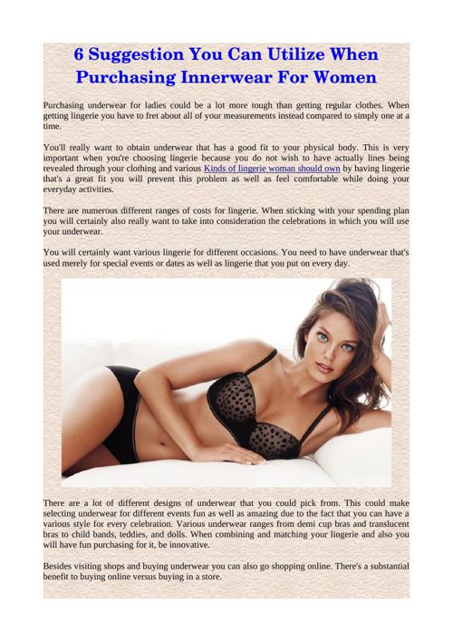 6 Suggestion You Can Utilize When Purchasing Innerwear For Women