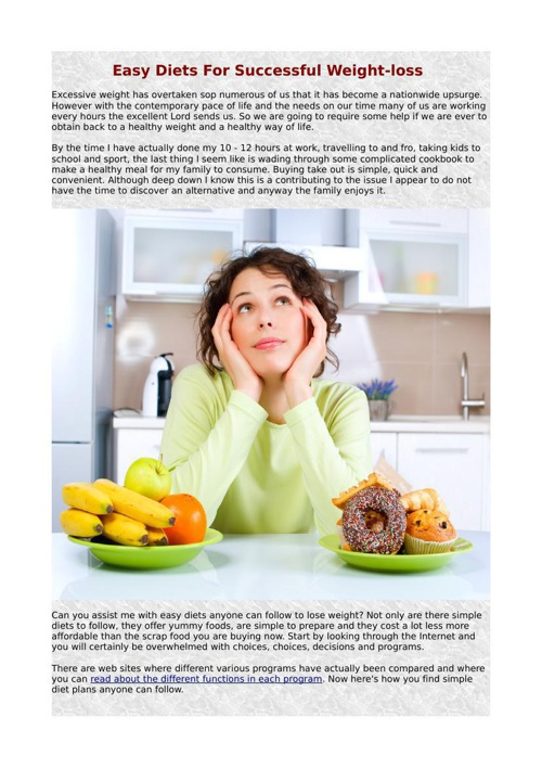 Easy Diets For Successful Weight-loss