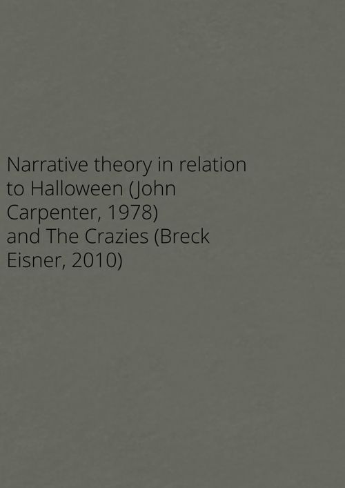 Narrative theory in relation to Halloween