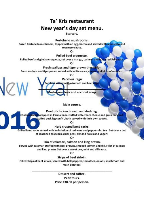 New Year's day set menu 2015