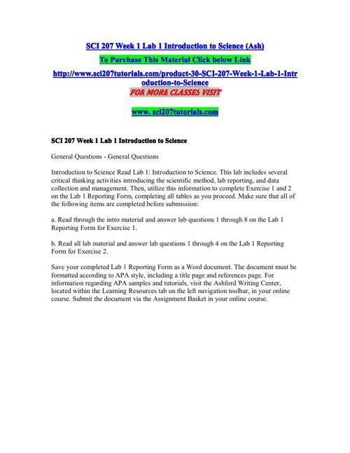 SCI 207 SCI/207 SCI207 Week 2 Lab Water Quality and Contamination-(2 DIFFERENT SETS OF LABS)-LATEST
