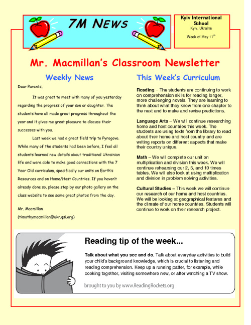 Newsletter for the Week of May 17th