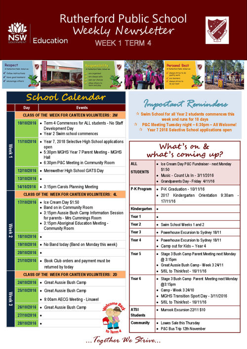 Rutherford Public School Term 4 Week 1 Newsletter