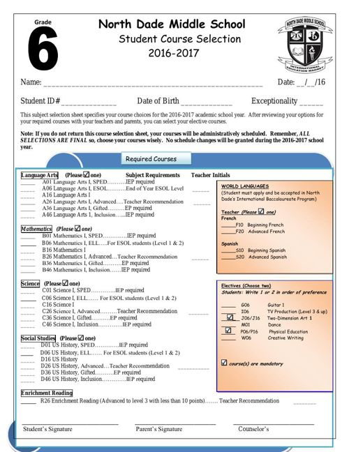 North Dade Subject Selection Sheet