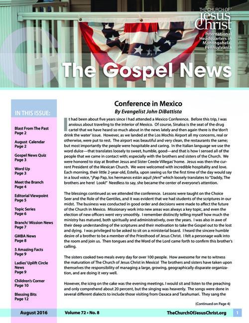 Gospel News August 2016