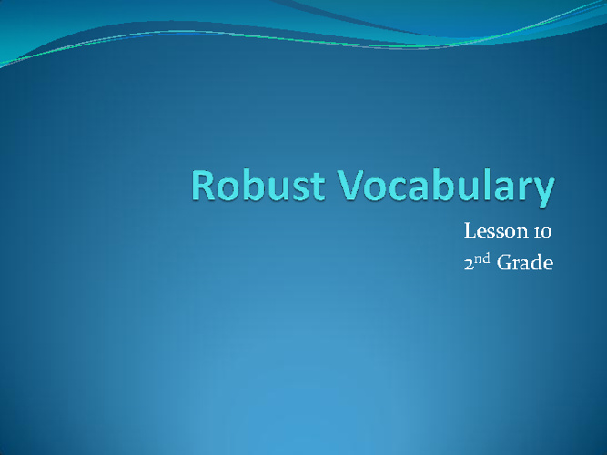 Lesson 10 Vocabulary Flipbook