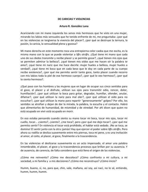 DE CARICIAS Y VIOLENCIAS