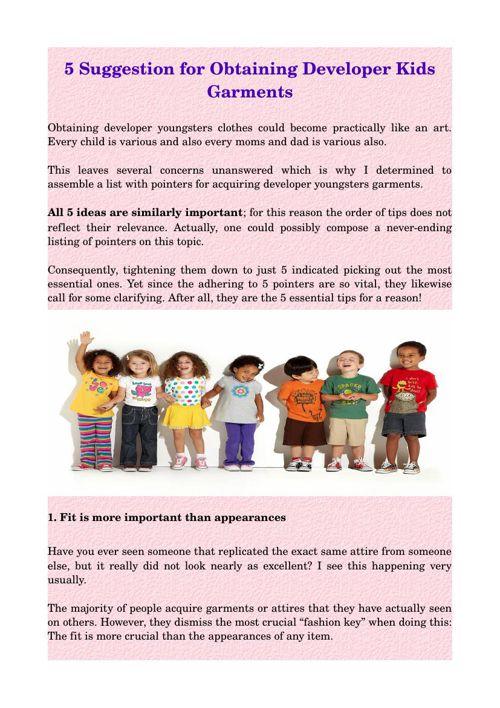 5 Suggestion for Obtaining Developer Kids Garments