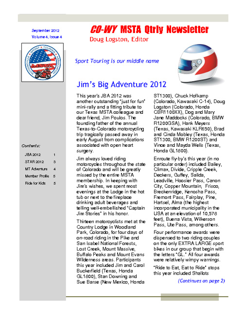September 2012 Colorado/Wyoming MSTA Newsletter