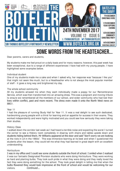 Boteler Bulletin 24th November 2017