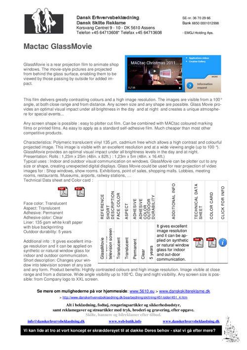 302 GlassMovie - Mactac glasfolier, til vinduer og døre - og til