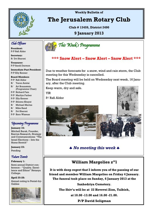 Jerusalem Rotary Club Bulletin Wednesday January 9, 2013