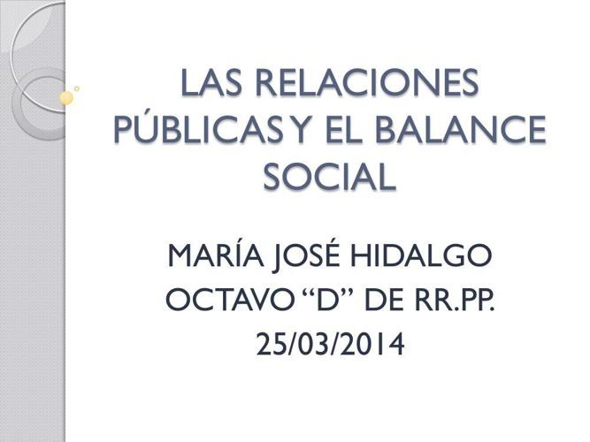 LAS RELACIONES PÚBLICAS Y EL BALANCE SOCIAL