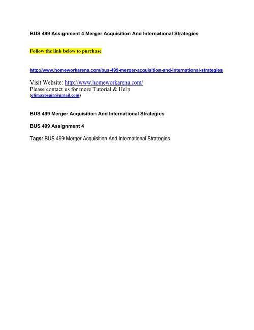 BUS 499 Assignment 4 Merger Acquisition And International Strate