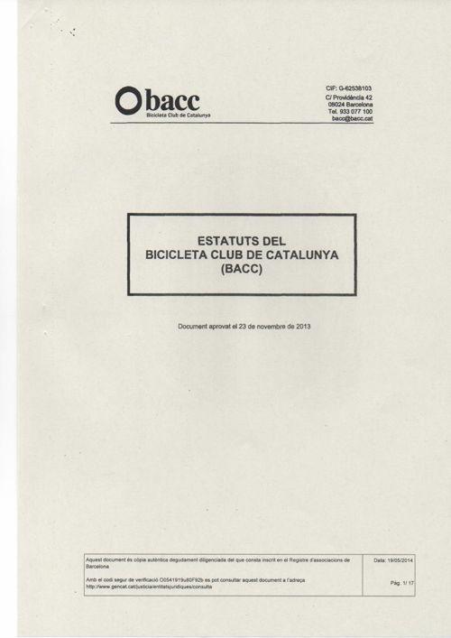 ESTATUTS DEL BICICLETA CLUB DE CATALUNYA (BACC)