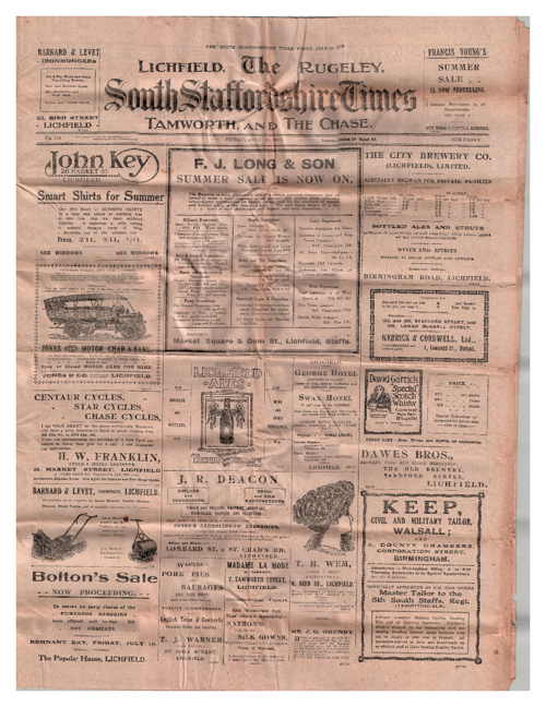 South Staffordshire Times July 18th 1913