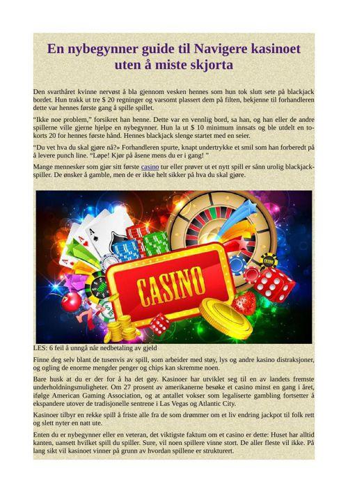 En nybegynner guide til Navigere kasinoet uten å miste skjorta