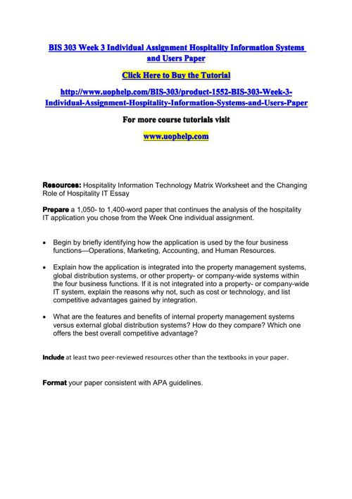 BIS 303 Week 3 Individual Assignment Hospitality Information Sys