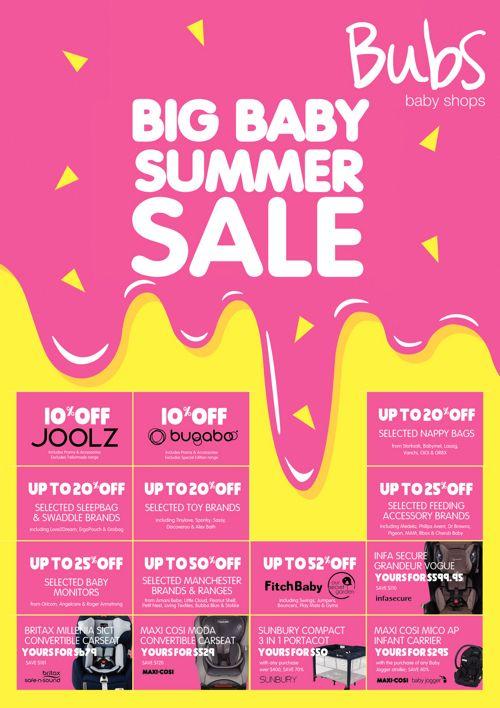 Bubs Baby Shops Big Baby Summer Sale