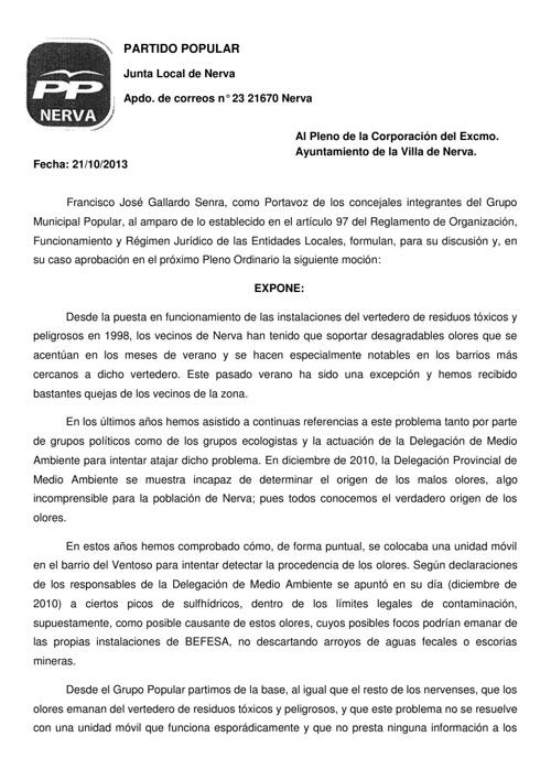 Moción presentada el 21-10-2011 en el ayuntamiento de Nerva