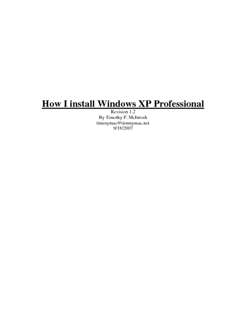 Install Windows XP Professional 1.2