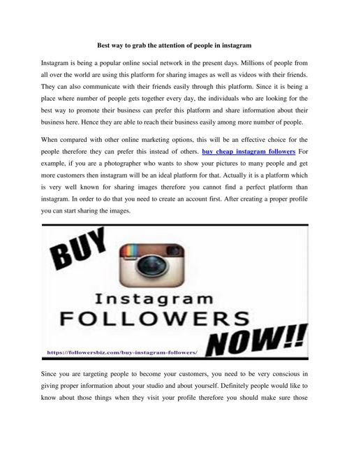 You will get an overview about how to take instagram